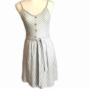 CAUTION TO THE WIND Dress Blue White Striped NWOT